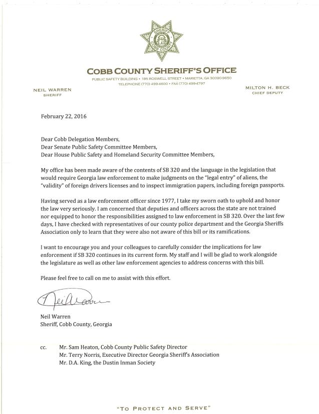 Letter-SB 320-SheriffNeilWarren-2016Feb22